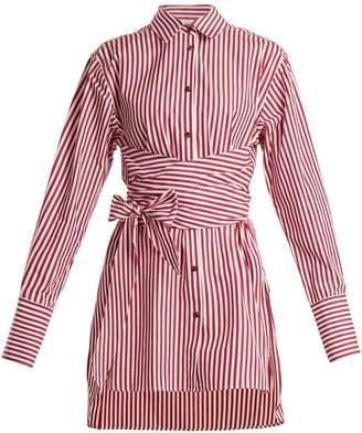 KHAITE Bianca striped tie-waist cotton shirt