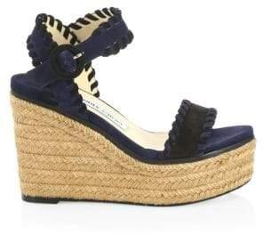 Jimmy Choo Women's Abigail Suede Wedge Espadrille Sandals - Black Navy - Size 35 (5)