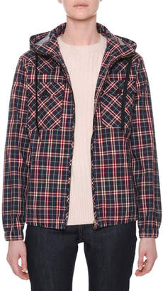 Tomas Maier Hooded Zip-Front Check Bomber Jacket