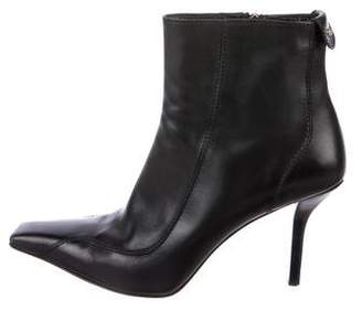 Gucci Leather Square-Toe Ankle Boots