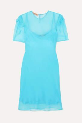 Maggie Marilyn Net Sustain Take It Back Knotted Silk-organza Mini Dress - Blue