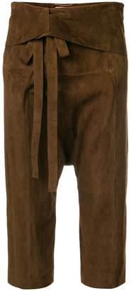 Saint Laurent cropped drop-crotch trousers