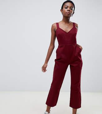 7586b344d16 Asos DESIGN Petite denim jumpsuit with kickflare in berry