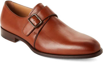 Paul Stuart Tan Brent Monk Strap Leather Shoes
