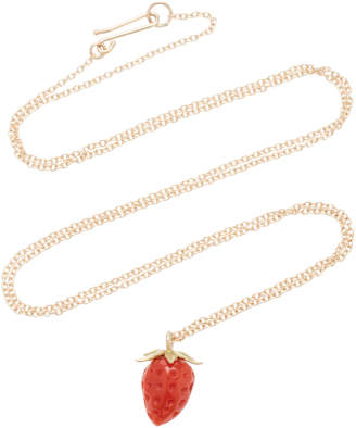 Annette Ferdinandsen Strawberry 18K Gold And Coral Pendant Necklace