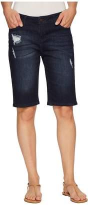 Liverpool Bobbie Bermuda Shorts in Vintage Super Comfort Stretch Denim in Vallejo Dark Destruct Women's Shorts