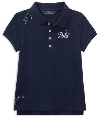 Ralph Lauren Girls' Floral-Embroidered Polo - Little Kid