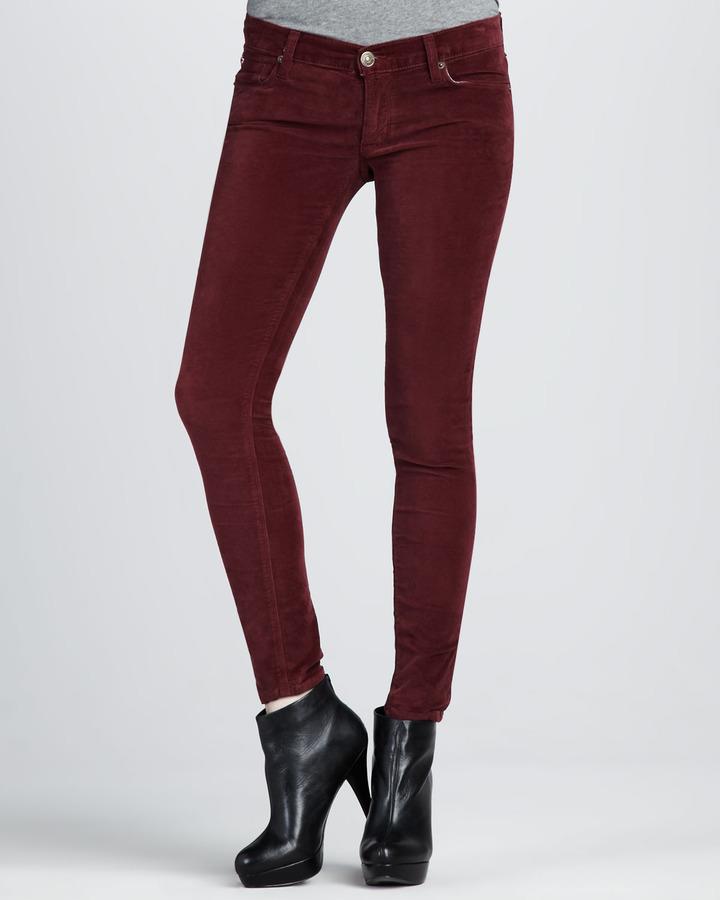 Hudson Krista Bordeaux Velvet Super Skinny Jeans