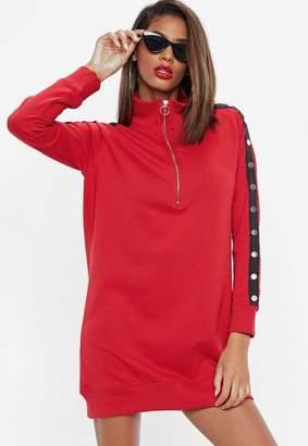Missguided Red Long Sleeve High Neck Popper Sweatshirt Dress