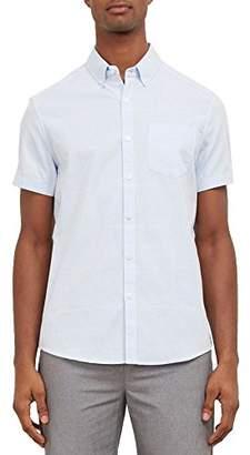 Kenneth Cole New York Men's Short Sleeve Oxford Stripe Shirt