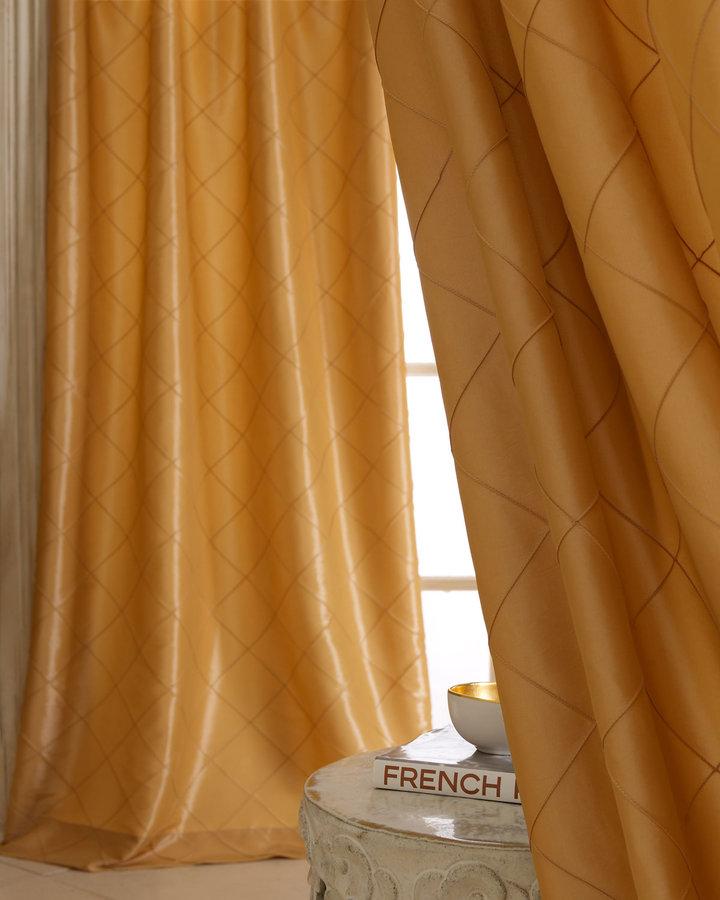 Horchow Each Diamond-Pintucked Curtain