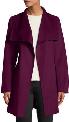 T Tahari Ella Double-Face Wool Wrap Coat