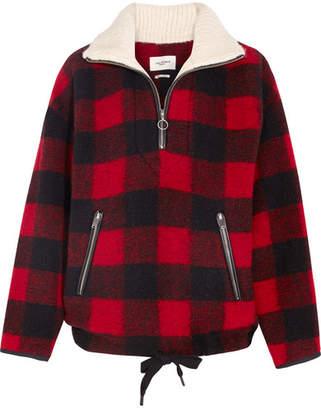 Etoile Isabel Marant Gilas Checked Brushed Wool-blend Jacket - Red
