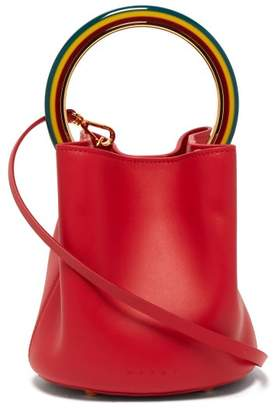 Marni Pannier Leather Bucket Bag - Womens - Red Multi