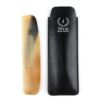 Zeus Natural Horn Wide Tooth Beard Comb in Leather Sheath - Beard Comb for Men!