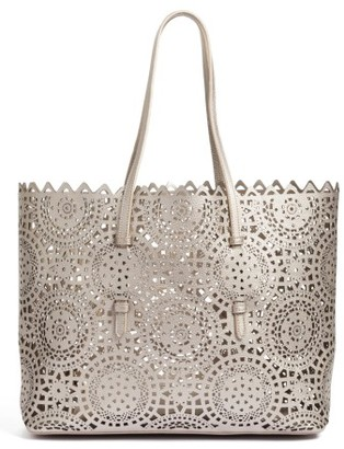 Shiraleah Helena Perforated Faux Leather Tote - Metallic $58 thestylecure.com