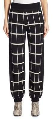 Chloé Check Wool Knit Track Pants