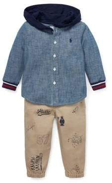Ralph Lauren Childrenswear Baby Boy's Two-Piece Cotton Oxford Shirt Pants Set