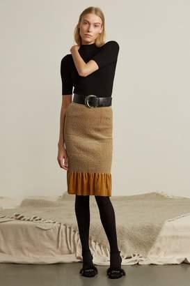 Genuine People Velvet Ruffle Midi Skirt