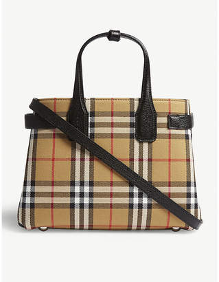 Burberry Black Check New Banner Small House Tote Bag