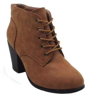 BLUE SUEDE SHOES Blue Womens Low Heel Ankle High Lace Up Side Zip Fashion Winter Fall Boots 2018 Holidays Collection-KENDRA Size -008 TAN