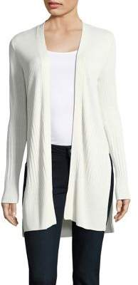 Halston H Ribbed Open-Front Cardigan