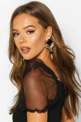 boohoo Black Stone & Gold Statement Earrings