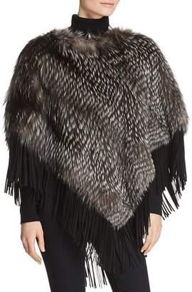Maximilian Furs Suede-Trim Silver Fox Fur Poncho - 100% Exclusive