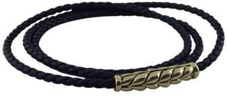 David Yurman 925 Sterling Silver Chevron Blue Woven Leather Bracelet