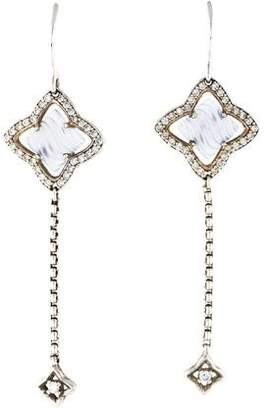 David Yurman Diamond & Chalcedony Quatrefoil Drop Earrings