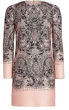 Valentino Women's Lace Print Long Sleeve Dress