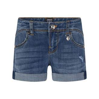 Armani Junior Armani JuniorGirls Blue Distressed Denim Shorts