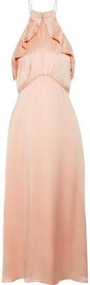 Zimmermann Ruffle-trimmed Washed-silk Midi Dress - Peach