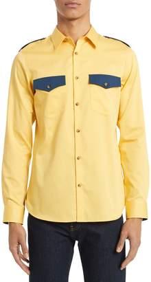 Calvin Klein Foundation Western Blocked Denim Button-Down Shirt