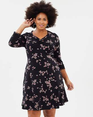 Floral Print Fit-and-Flare Dress