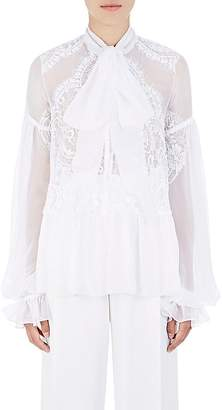 Givenchy Women's Lace-Inset Silk Chiffon Blouse