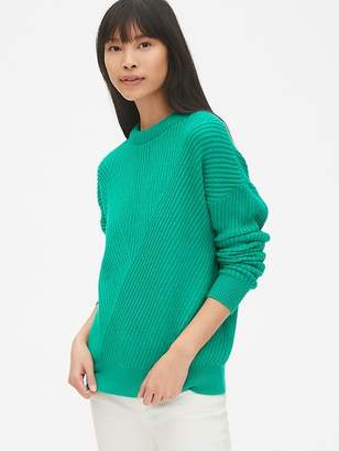 Gap Directional Ribbed Crewneck Pullover Sweater