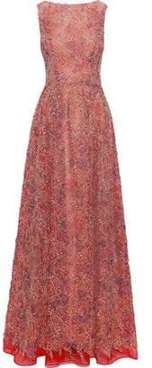 Carolina Herrera Appliqued Organza Gown
