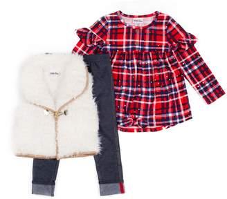 Little Lass Toddler Girl Plaid Top, Faux-Fur Vest & Jeggings Set
