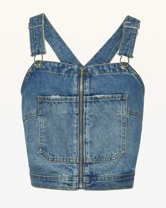 Juicy Couture JXJC Denim Zip Front Crop Top