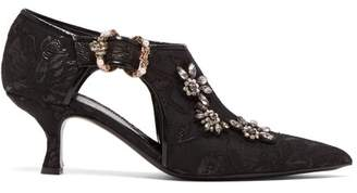 Erdem Marguerite Jacquard Faux Pearl And Crystal Pumps - Womens - Black