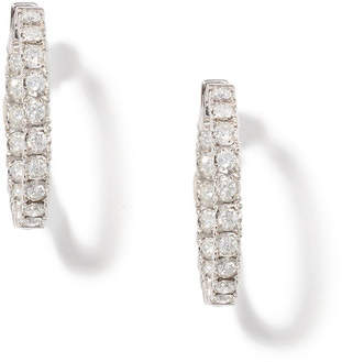 Anne Sisteron 14Kt White Gold Diamond Small Bella Hoop Earrings