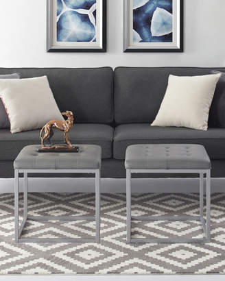 Inspired Home Square Faux Leather Ottoman