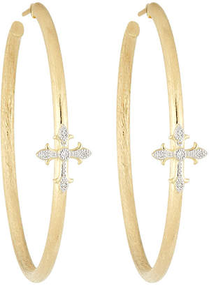 Jude Frances 18K Fleur Cross Pave Diamond Large Hoop Earrings