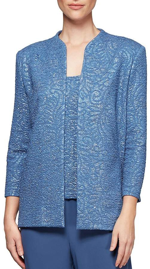 Alex Evenings Jacquard Knit 3/4 Sleeve Twinset Tank and Jacket