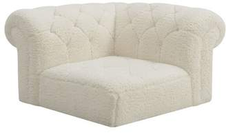 Pottery Barn Teen Cushy Roll Arm Lounge Corner Chair, Sherpa Ivory, IDS