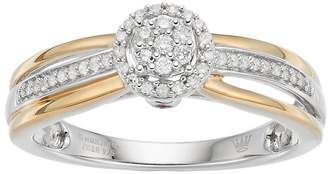 Hallmark Two Tone Sterling Silver 1/6 Carat T.W. Diamond Cluster Halo Ring