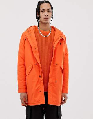 Asos Design DESIGN parka jacket in bright orange