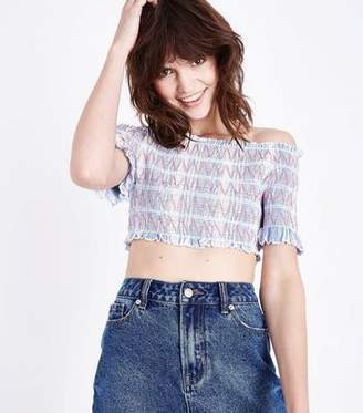 0dc5e73716fb9 New Look Blue Shirred Bardot Neck Crop Top