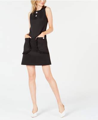 Betsey Johnson Sleeveless Floral Appliqué Shift Dress